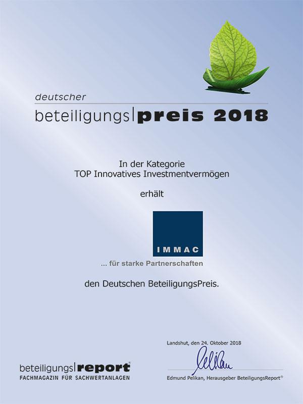 ``IMMAC deutscher Beteiligungspreis 2018``